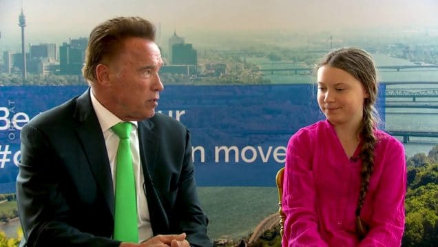 Interview with Arnold Schwarzenegger and Greta Thunberg.
