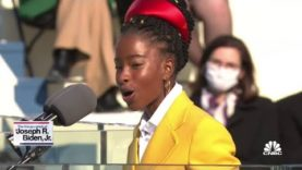Inaugural poet Amanda Gorman delivers a poem at Joe Biden's inauguration