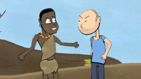 Karl Pilkington argues with a starving African.